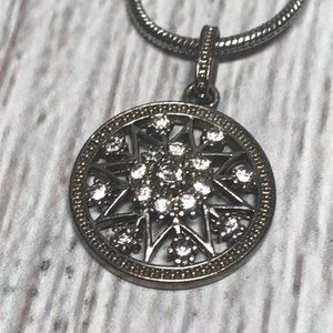 Silver Medallion Star Sparkle Necklace